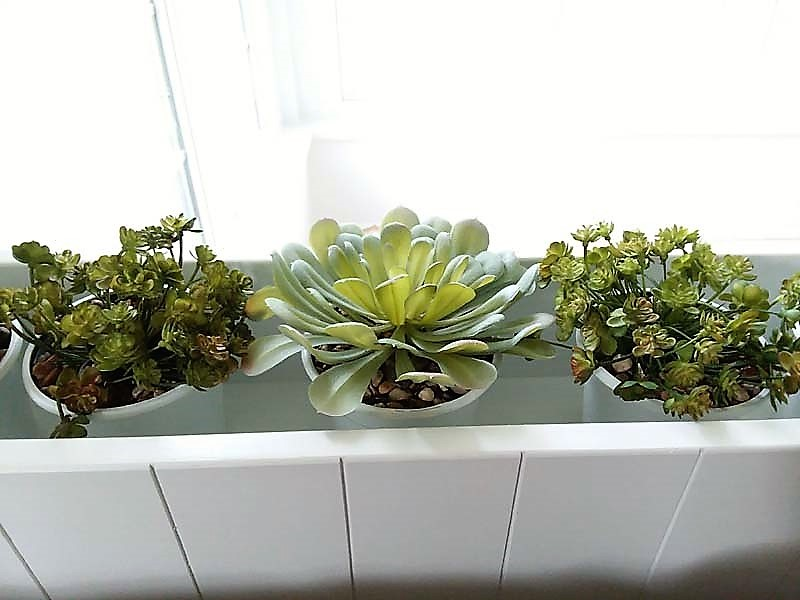 Indoor planter box with potted faux succulents | stowandtellu.com