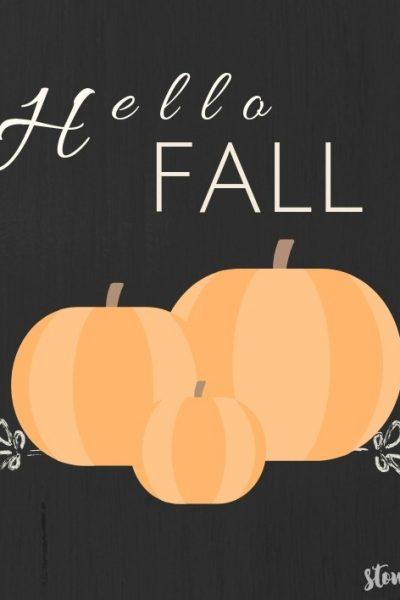 Hello Fall Pumpkin free printable orange-black background | stowandtellu.com