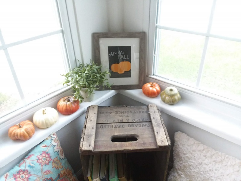 "Framed ""Hello Fall"" free printable, black background, orange pumkins 