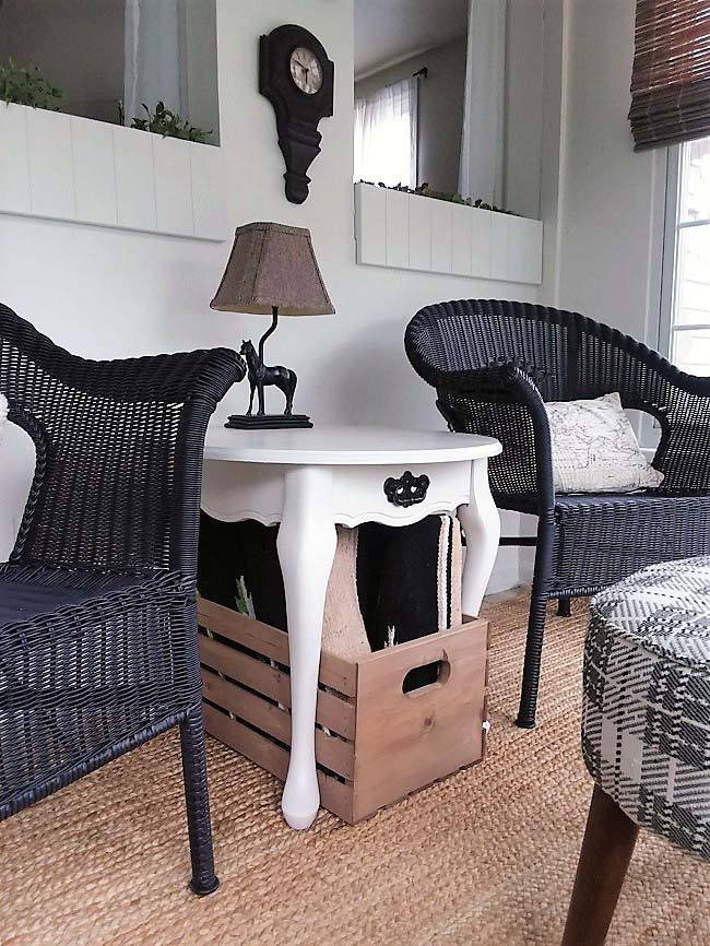 Storage for Small Sun Porch Sitting Area Makeover   stowandtellu.com