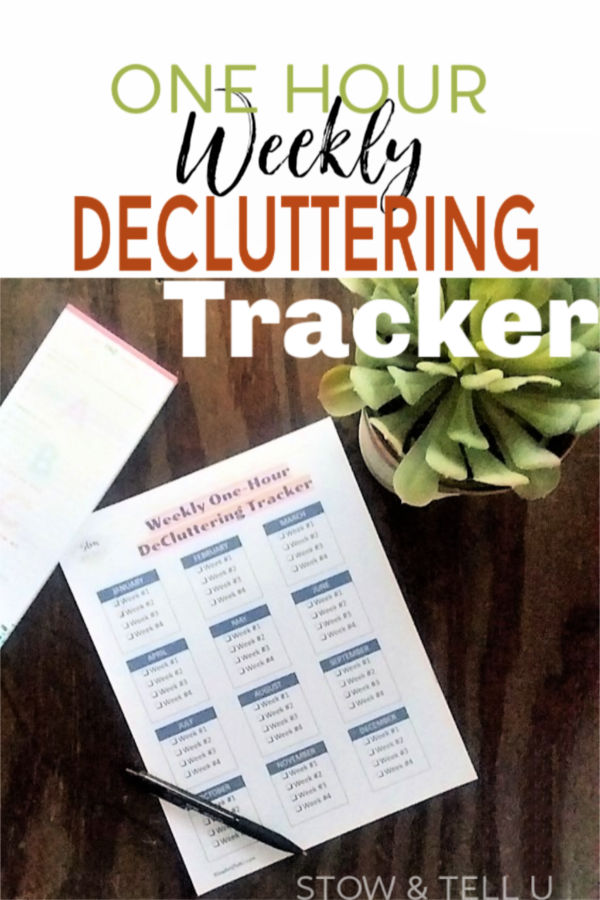 One Hour Weekly Decluttering Tracker | Stowandtellu