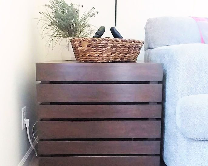 Crate Side Table with General Finishes Gel Stain Color Antique Walnut   Fix the wrong stain color on Wood Furniture