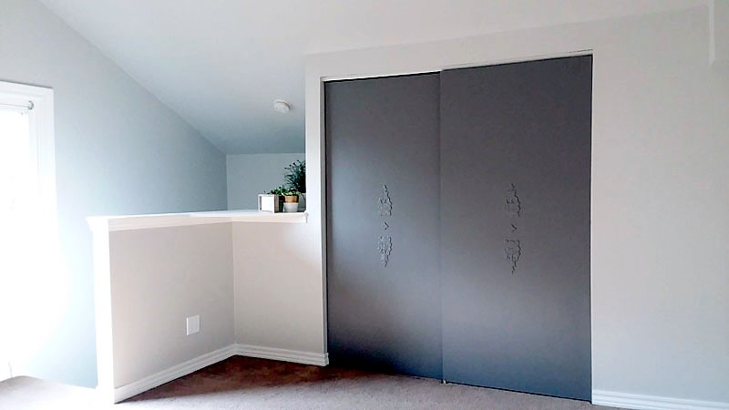 Dark Gray Painted Closet Doors