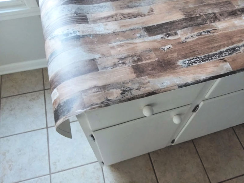 Cover Countertop with Wood Look Wallpaper