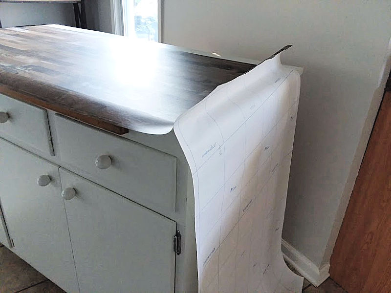 Laying Peel Stick Wallpaper on Countertop