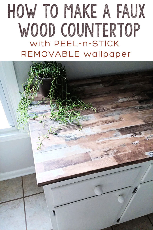 Make a Faux Wood Counter Top with Wallpaper