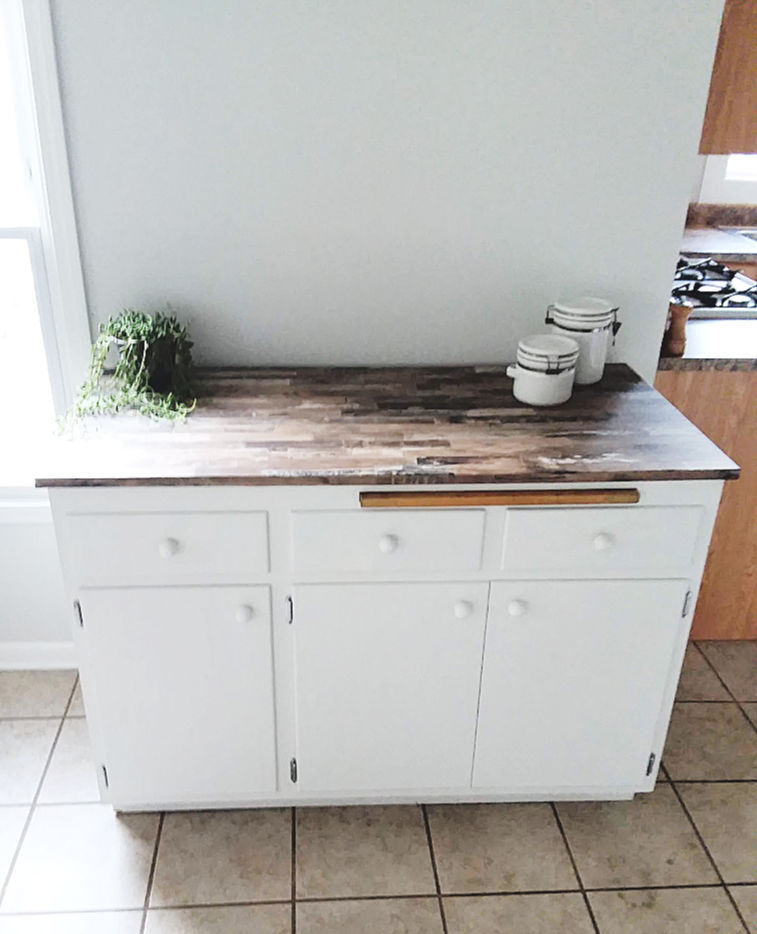 Peel and Stick Wallpaper Covered Faux Wood Countertop