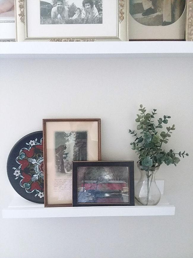 artifical eucalyptus sprig glass vase
