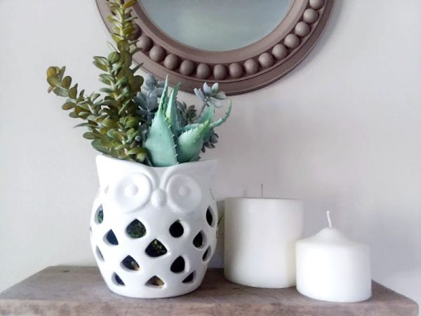 ceramic white owl planter