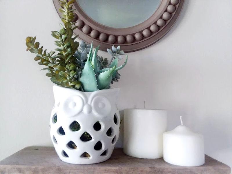 ceramic white owl planter