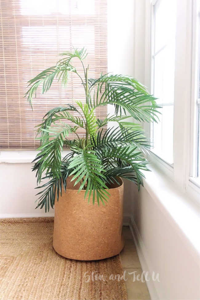 fake palm in cork planter | tips for styling faux plants