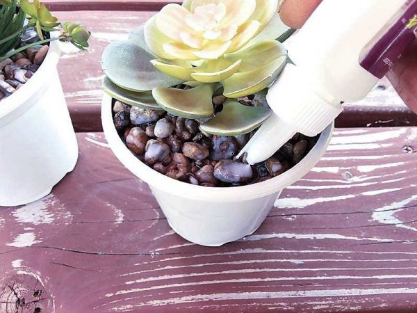 Make stone filled faux succulents