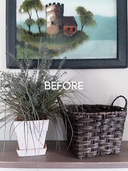 Decorating with Faux Plants | Fake dried grass plant and dark brown basket