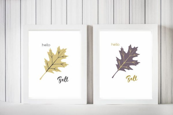 Fall Oak Leaf Printable in Gold and Purple