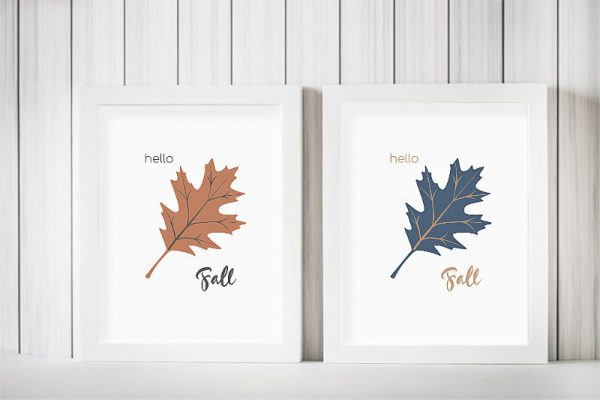 Hello Fall Oak Leaf Free Printable in Blue and Orange