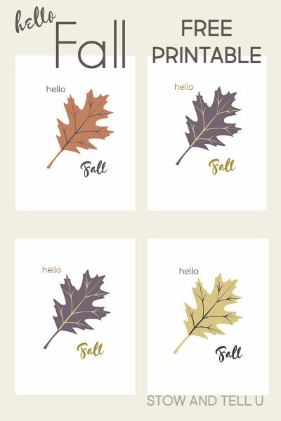 Hello Fall with Oak Leaf Image in 4 color options