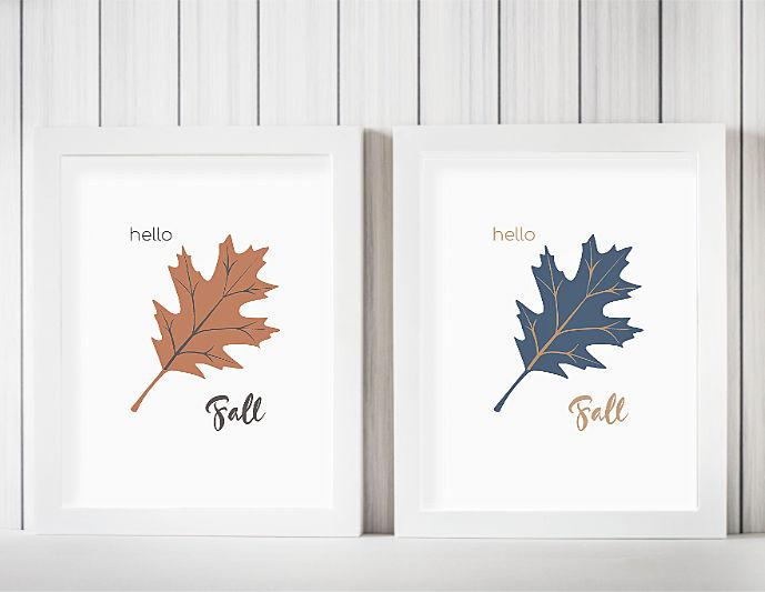 Orange and Blue Leaves Artwork