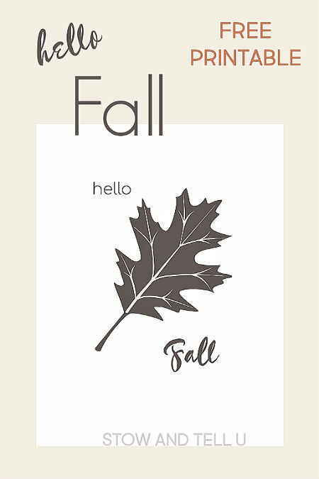 Hello Fall Oak Leaf Printable Download in Black and White