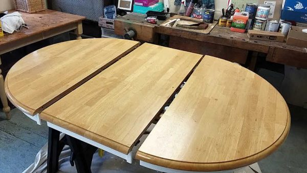 Golden Pine Wood Dining Table Top before Refinishing