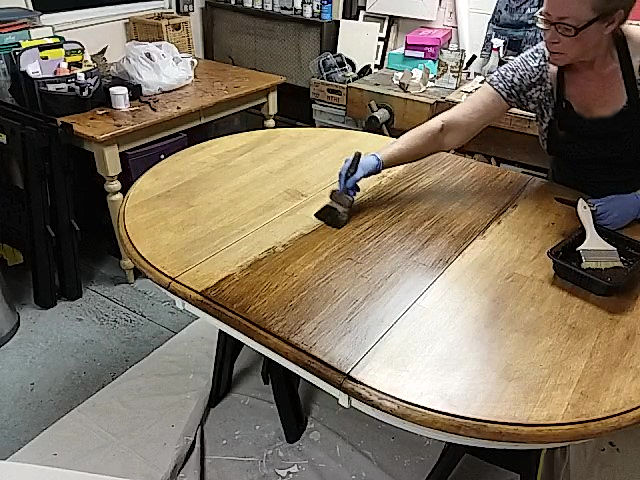 Using the softening brush through gel stain
