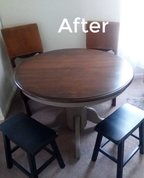 Refinishing Wood Dining Table with dark gel stain