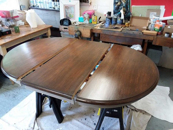 Antique Walnut Gel Stain on Dining Table