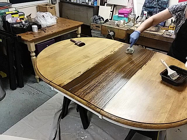 Restain Pine Dining Table with Gel Stain