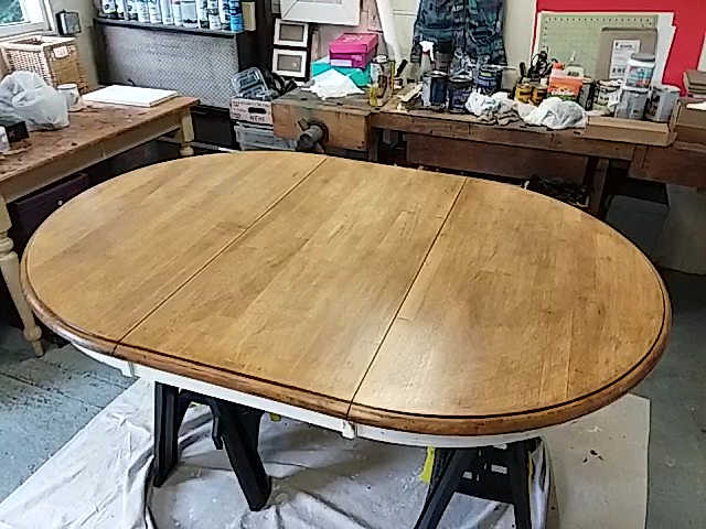 Restaining Golden Pine Dining Table Top with Gel Stain