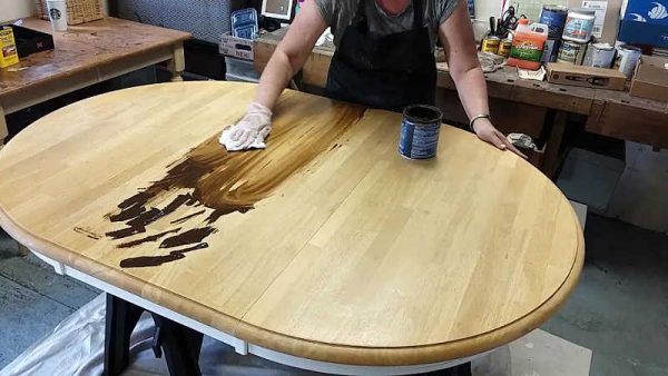 Restaining Golden Pine Dining Table with Gel Stain