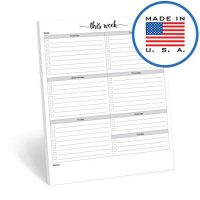 "321Done Weekly Checklist Planning Pad - 50 Sheets (8.5"" x 11"") - This Week to Do Notepad Tear Off, Desktop Planner Large Letter-Size - Made in USA - Simple Script"