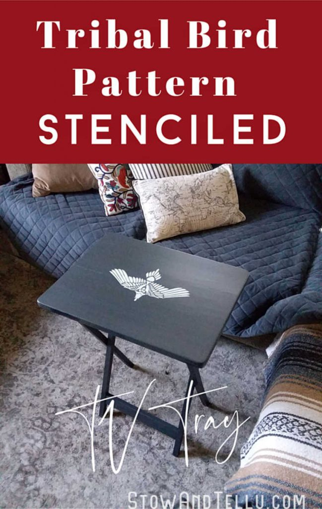 DIY Tribal Bird Stenciled Chalk Painted TV Tray