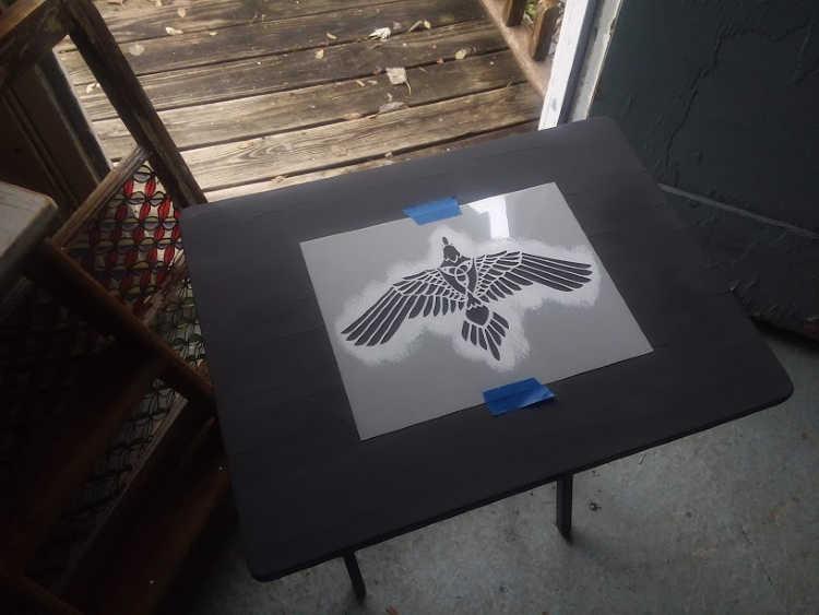 Tribal Bird Stencil on tray table
