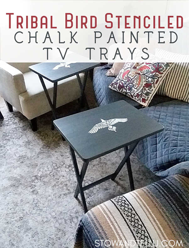 Tribal Bird Stenciled TV Trays | Easy tutorial on how to paint and stencil TV trays with chalk paint.