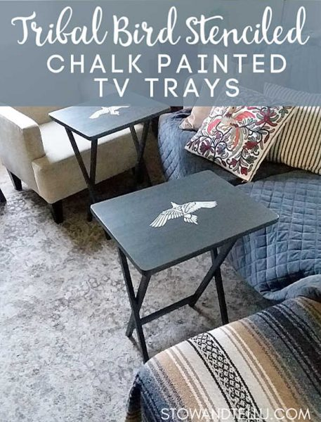 Tribal Bird Stenciled Chalk Painted TV Trays
