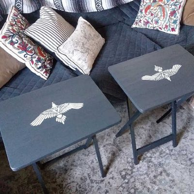 Weekend Project: Tribal Bird Stenciled TV Trays