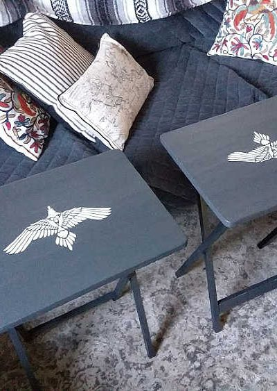Tribal Bird Stenciled Tray Tables