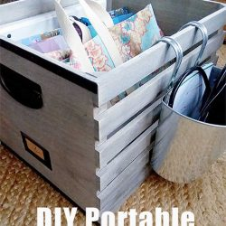 Wood Crate DIY Portable Office Organizer Tote