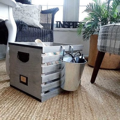 DIY Wood Crate Portable Office Organizer