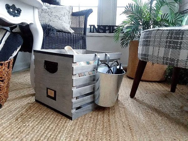 Wood Crate DIY Portable Office Organizer