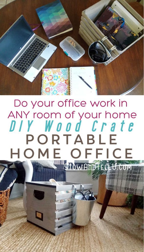Wood Crate DIY Portable Office Organizer Caddy