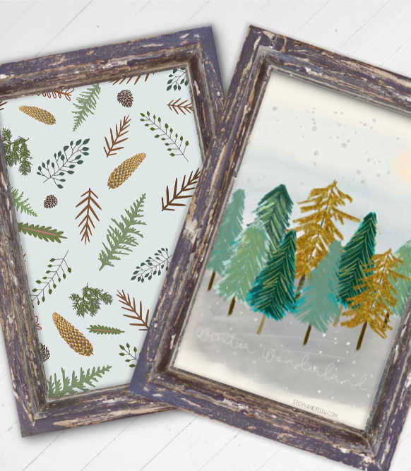 Winter Printables Botanical Print and Forest Scene