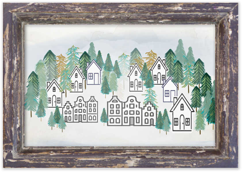 Winter Village Scene Framed - Free Printable