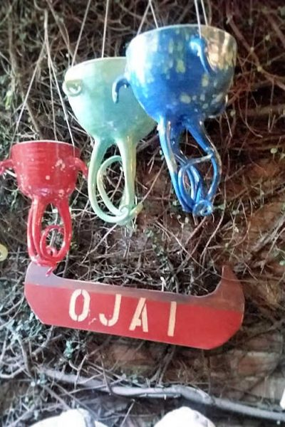 Ojai Canoe sign. Hanging squid planters