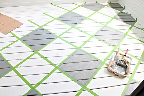 checkerboard pattern painted onto the floor