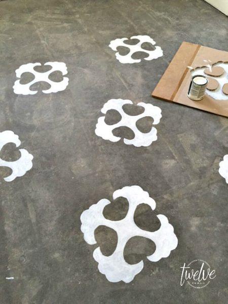 stenciled concrete floor with handmade stencil
