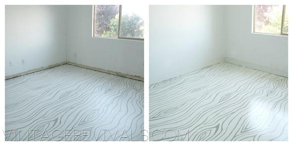 Large hand painted wood grain pattern on floor