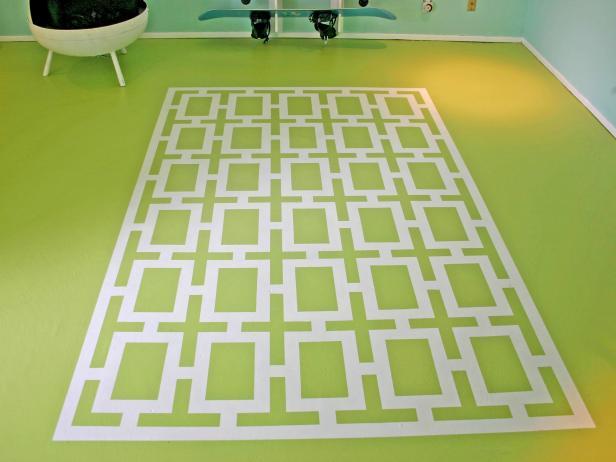 pretend area rug painted onto floor
