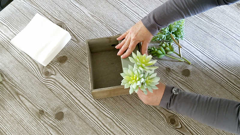 Arranging artificial succulents in a square wooden box