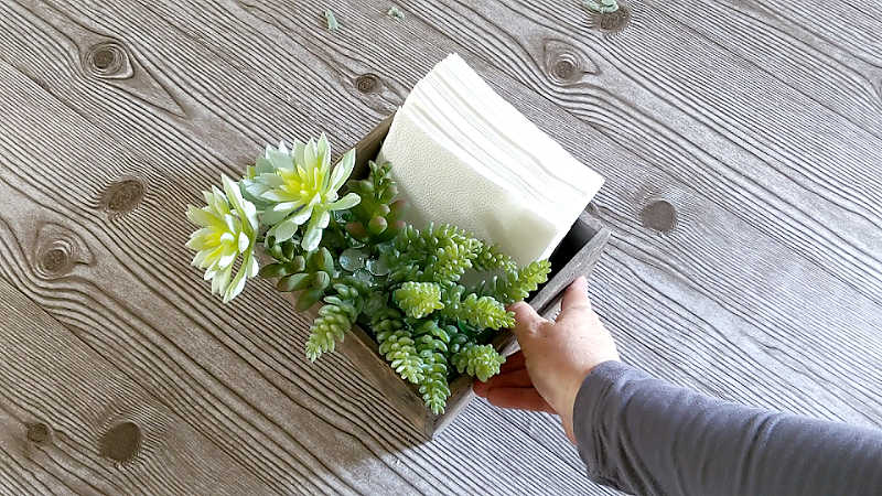 DIY Napkin Holder and Faux Succulent Centerpiece