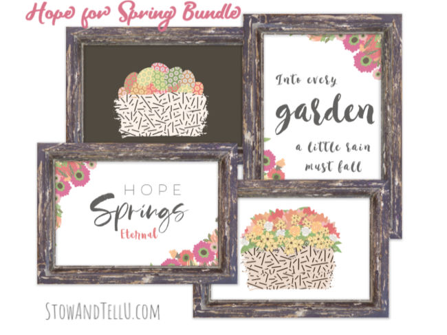 Hope for Spring printable bundle collection of 4 spring artwork prints